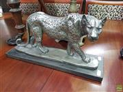Sale 8601 - Lot 1055 - Silver Coloured Stalking Leopard Statue
