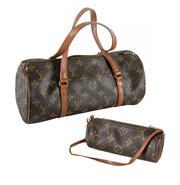 Sale 8618A - Lot 4 - A vintage French Louis Vuitton monogram Canvas Leather Papillon Handbag with purse;