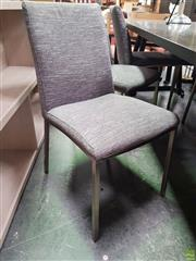 Sale 8637 - Lot 1078 - Set of Six Modern Upholstered Dining Chairs on Chrome Base