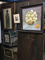 Sale 8750 - Lot 2037 - 5 Works: Artist Unknown - Still Life Daisies & Oranges, acrylic on board; Artist Unknown - Windmill, Greece, watercolour; Brass Rubb...
