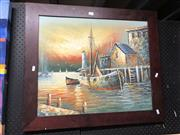 Sale 8903 - Lot 2098 - Artist Unknown - Boat at Wharf, Oil, 51.5x61.5cm