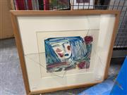 Sale 8903 - Lot 2031 - Sandie Burch Portrait monoprint, 46 x 51cm, signed lower right