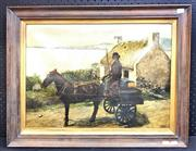Sale 8945 - Lot 2110 - J. D Lindsay Coach Man and his Horse 1915 oil on canvas, 53 x 68cm (frame) signed -