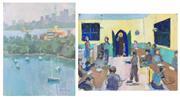 Sale 8964 - Lot 2043 - Christine Crimmins (2 works) Cremorne Point 1994; Soup Kitchen oils on canvas on board (unframed), signed (1)