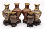 Sale 9070 - Lot 8 - A Set of 3 Pairs of Cloisonne Vases (H 10cm, H 15cm, H 16cm)