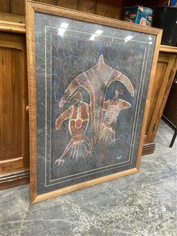 Sale 9091 - Lot 2076 - Leane Reid Wanjidari Dream Time Spirits, acrylic on paper, frame: 100 x 81 cm, signed lower right -