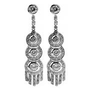 Sale 8357 - Lot 375 - A PAIR OF DECO STYLE SILVER DROP EARRINGS; triple cluster drops with fringe set with zirconias, length 47mm.