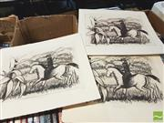 Sale 8413T - Lot 2076 - R. Oliver (11 works) The Bushranger, editioned etchings, 20 x 25cm, each signed (unframed)