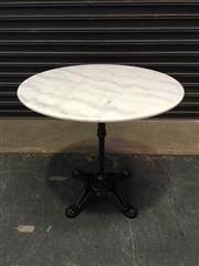 Sale 8451B - Lot 100 - French-Style Cafe Table w White Marble Top (D:80cm) on cast iron base