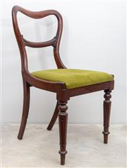 Sale 8644A - Lot 50 - A set of four early C19th Tasmanian dining chairs with carved turned legs and green velvet upholstery.
