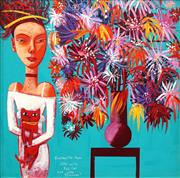 Sale 8773 - Lot 589 - Constantine Popov (1965 - ) - Girl with Red Cat and Vase of Flowers 49.5 x 49.5cm