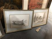Sale 8816 - Lot 2055 - Artist Unknown (2 works): Coastal Home; Boat, ink and watercolour drawings, each 16 x 24cm, unsigned