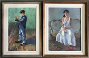 Sale 8964 - Lot 2044 - Christine Crimmins (2 works)White Dress; Flute Player oils on canvas on board, 54.5 x 43.5cm; 55 x 39cm (frames), signed and inscr...
