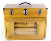 Sale 8985 - Lot 61 - A Large Fitted Timber Travellers Jewellers Case with glass front panel (H:41 x L:51 x D:27cm) with keys