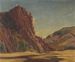 Sale 9096 - Lot 575 - Leonard Long (1911 - 2013) The Orange Pipes, Glen Helen Northern Terriotory oil on canvas board (AF) 49.5 x 59.5 cm (frame: 66 x 77 ...