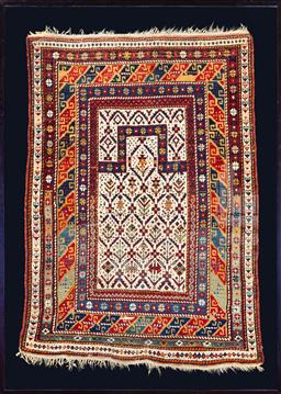 Sale 9130S - Lot 4 - An antique Turkish Mudjur prayer rug in a box frame, hand knotted and vegetable dyed wool rug, citca 1870  size approx 138cm x 97cm...