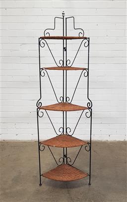 Sale 9146 - Lot 1089 - Cane shelves corner plant stand (h170 x d50cm)