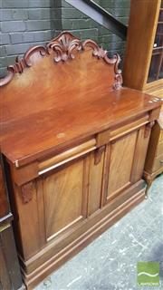 Sale 8375 - Lot 1085 - Victorian Mahogany Chiffonier, with two drawers above two doors concealing a later cellaret
