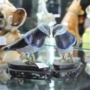 Sale 8379 - Lot 65 - Cloisonne Pair of Birds on Stands (one foot faulty)