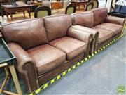 Sale 8447 - Lot 1026 - Pair of Leather Lounges