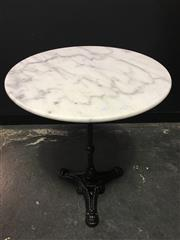 Sale 8451B - Lot 101 - French-Style Cafe Table w White Marble Top (D:60cm) on cast iron base