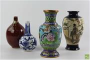 Sale 8512 - Lot 45 - Cloissonne Vase Together With Other Chinese Examples Incl Flambe, Satsuma Geisha Vase And Blue And White