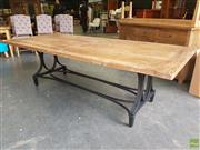 Sale 8601 - Lot 1490 - Oak Top Dining Table on Industrial Iron Base (H: 75 L: 245 W: 110cm)