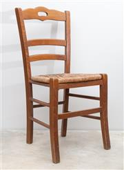 Sale 8644A - Lot 77 - Four French country style ladder back chairs with rush seating, height of back 120cm.