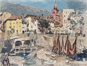 Sale 8867 - Lot 589 - Cedric Emanuel (1906-1995) - Coast of Louvran, Croatia 38.5 x 52 cm