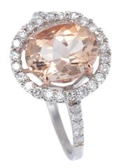 Sale 8937 - Lot 372 - A MORGANITE AND DIAMOND HALO RING; centring an oval cut morganite of approx. 2.06ct (chip) above surround and shoulders set with 34...