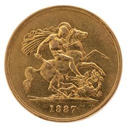 Sale 9130E - Lot 54 - A 22 carat Queen Victoria Jubilee Five-Sovereign date 1887, Weight 39.78g