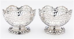 Sale 9245R - Lot 42 - A pair of elaborately pierced sterling silver bowls C: 1930s, Ht: 6cm x D: 9cm, total weight 134gr