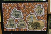Sale 8288A - Lot 94 - Barbara Nungula Kidd - Father Emu & His Four Chicks 54 x 84.5 (framed & ready to hang)
