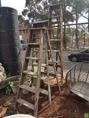 Sale 8601 - Lot 1224 - Three Timber A-Frame Ladders