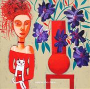 Sale 8764A - Lot 5031 - Constantine Popov (1965 - ) - Girl with White Cat and Vase of Flowers 49.5 x 49.5cm