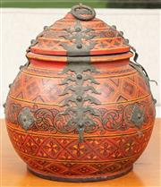 Sale 8976H - Lot 76 - A Burmese painted red storage jar with applied brass mounts Height 29cm