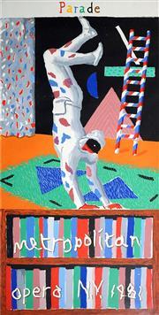 Sale 8992 - Lot 544 - David Hockney (1937 - ) - Harlequin from Parade (Metropolitan Opera NY) 1981 213.5 x 124.5 cm