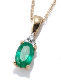 Sale 9213 - Lot 312 - A 14CT GOLD EMERALD AND DIAMOND PENDANT NECKLACE; oval cut emerald to 3 single cut diamond surmount, length 13mm, on a fine Prince o...