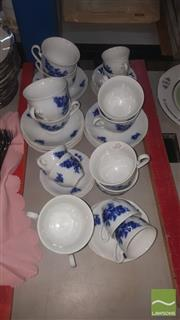 Sale 8422 - Lot 76 - Czech Blue & White Tea Setting