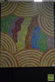 Sale 8497 - Lot 2094 - Rosie Bird Nangala - Untitled 88 x 71cm (stretched & ready to hang)