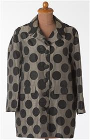 Sale 8550F - Lot 83 - A group of three Gay Naffine jackets including; a grey with large black spots mid length jacket, size 14, a silver/ brown jacket wit...