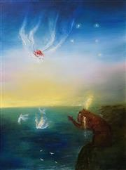 Sale 8656 - Lot 556 - David Boyd (1924 - 2011) - Europa Hurtling Towards a Weeping Golden Plumed Wombat, 1995 100 x 74cm