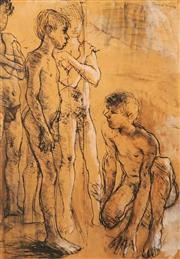 Sale 8675 - Lot 544 - Donald Friend (1915 - 1989) - Ceylonese Boys 77.5 x 53.5cm