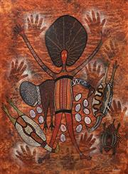 Sale 8711 - Lot 2082 - Leanne Reid Wanjidari (1966 - ) - Animal Motif with Woman 77 x 57cm