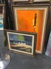 Sale 8707 - Lot 2061 - 2 Works: Kerr - Bank NSW, oil on board, SLL & Max Young - Stormy Afternoon, oil on board, SLR