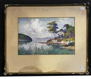 Sale 8949 - Lot 2060 - Alfred E Sutton Fishing in the Bay watercolour and gouache,  25 x 35cm (frame: 48 x 56cm), signed lower right -