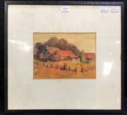 Sale 8953 - Lot 2030 - Alise Mary Parsons Old Cottage, Exeter watercolour, 35 x 75cm (frame), signed under mount -