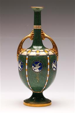 Sale 9122 - Lot 2 - Royal Worcester Twin Handled Green Ground Vase Depicting Doves of Peace (H28.5cm)