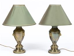 Sale 9130S - Lot 3 - A pair of Doris Kelly metal urn form table lamps with lion head motif & green shades. Total Height 70cm