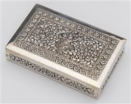 Sale 9245R - Lot 44 - A vintage 900 grade silver cigar box profusely embossed with scrolling folliates framing a figure, rosewood lined, L: 14cm x 9cm, to...